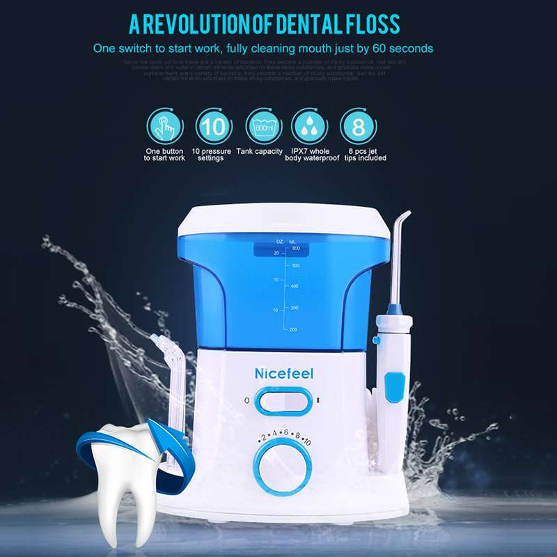 Health Electric Dental Water Flosser Oral Irrigator Water Jet Machine Kit With 600ml Tank 7 Nozzle Dental Oral Care Irrigator