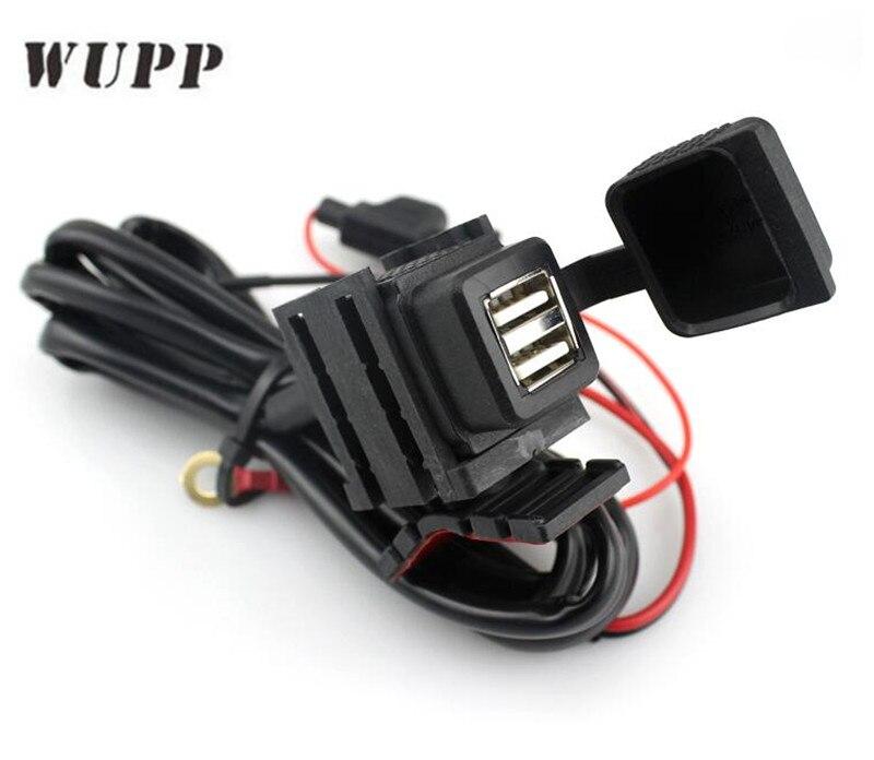 WUPP Double USB Port 12 V Étanche Moto Moto Guidon Chargeur Adaptateur Alimentation Prise pour Téléphone GPS MP4