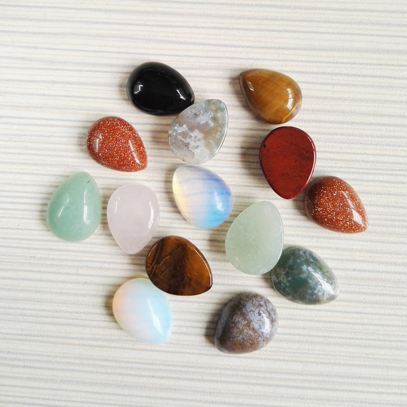 Wholesale 30pcs/lot 12x16mm assorted natural mixed stone teardrop CAB CABOCHON beads for DIY jewelry accessories Free shipping
