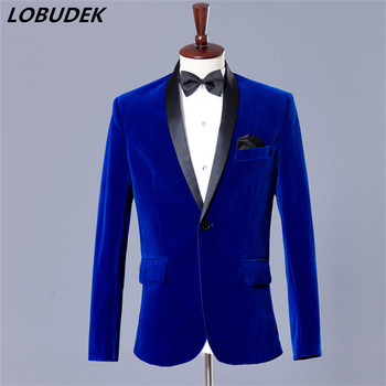 Formal Male jacket deep blue coat outfit blazer wedding groom studio shooting costumes for business outerwear coat dinner party