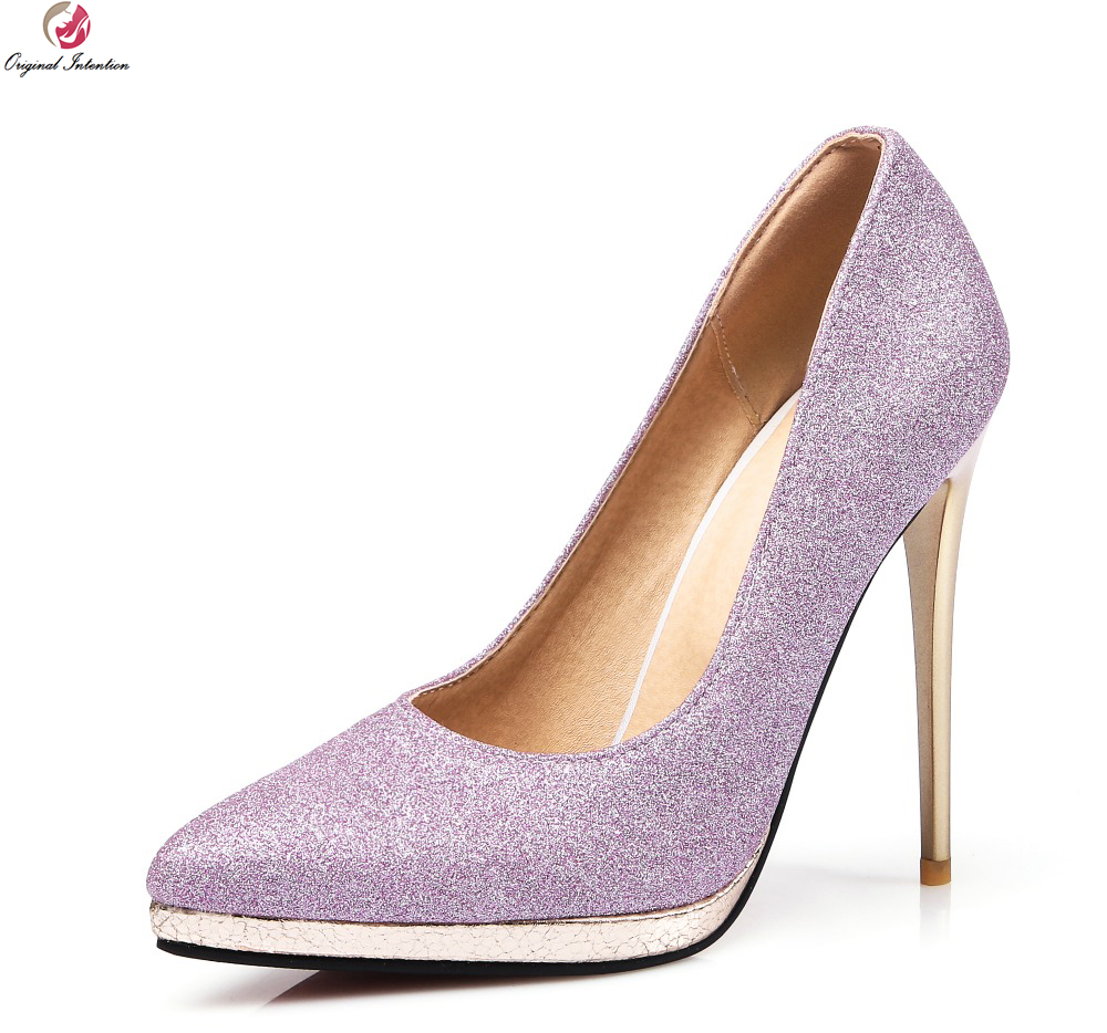 Original Intention Women Pumps Fashion Glitter Pointed Toe Thin Heels Pumps Purple Gold Silver Shoes Woman Plus Size 3.5-15 gold sliver shoes woman for 2016 new spring glitter bling pointed toe flats women shoes for summer size plus 35 40 xwd1841