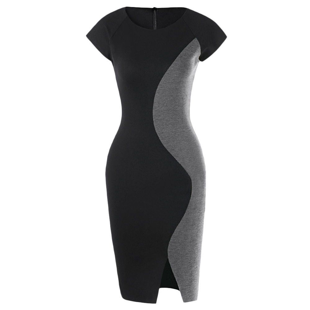 d9e082591be Kenancy 3 Colors Two Tone Front Slit Color Block Cap Sleeve Office Dress  Women Knee Length Patchwork Bodycon Vestidos Slim-in Dresses from Women s  Clothing ...