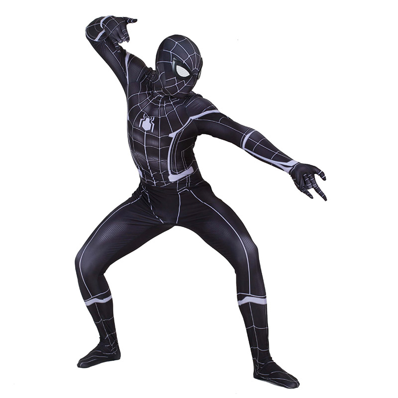Lycra Black Spiderman Suit Zentai Cosplay Costumes for Man Kids Superhero Bodysuit Costume Cosplaycustomized Size