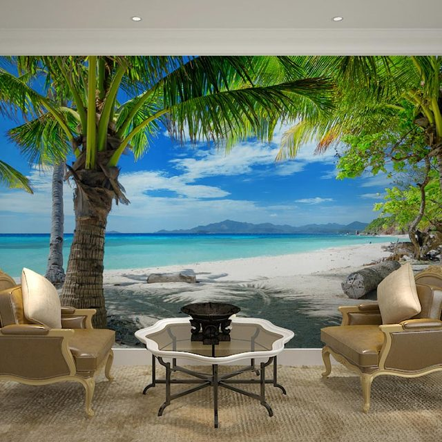 Home Decor Wall Papers 3D Tropical Beach Palm Tree Photo Wallpaper