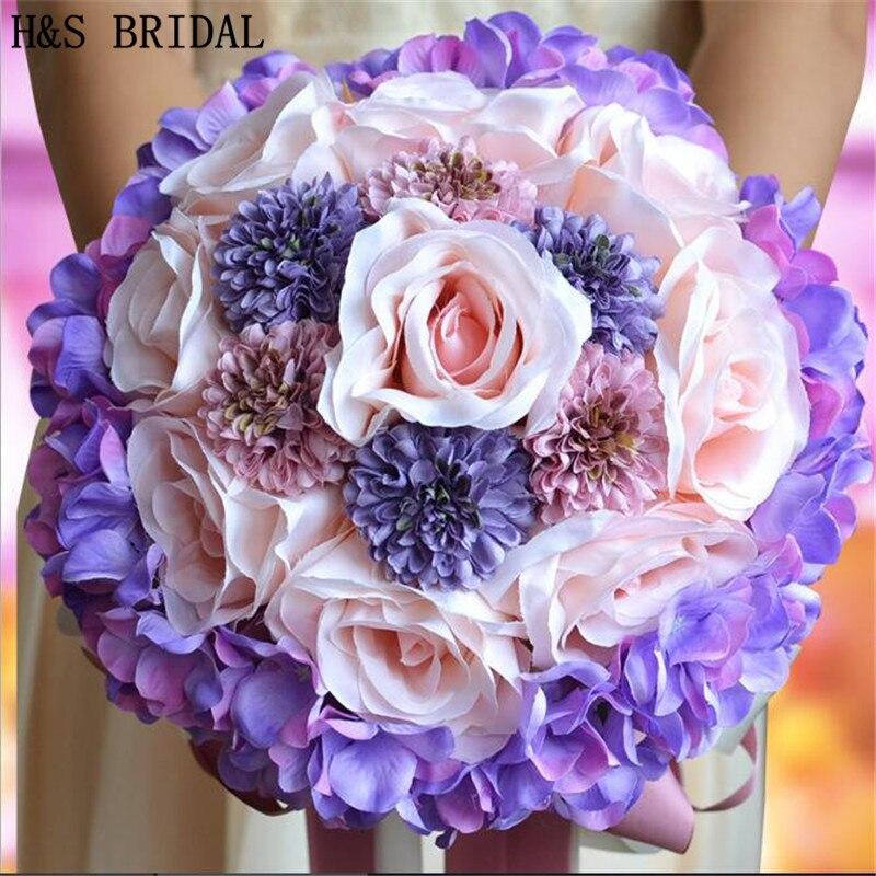 ᗑBeautiful Purple Pink Color bridal bouquets Bridesmaid Flower ...