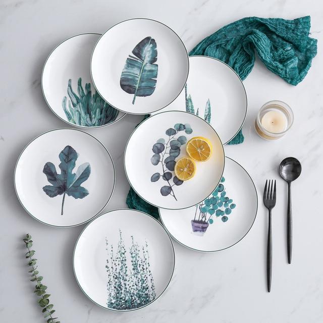 1 pcs 8 אינץ ירוק צמחים צלחת פורצלן כלי שולחן ארוחת ערב סט ירוק צמחים קרמיקה קינוח אוכל צלחת עוגת צלחת