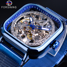 Forsining Blue Square Automatic Watch Male Mechanical Skeleton Hollow Slim Mesh Steel Strap Wrist Watches Stylish Clock Relogio