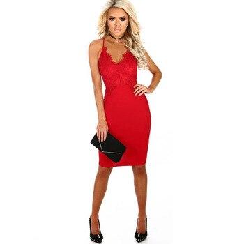1b52e03b0c6 Vestido sexy de encaje rojo de MUXU vestidos de tirantes para mujer ropa  bodycon moda vestido de fiesta ropa de verano kleider