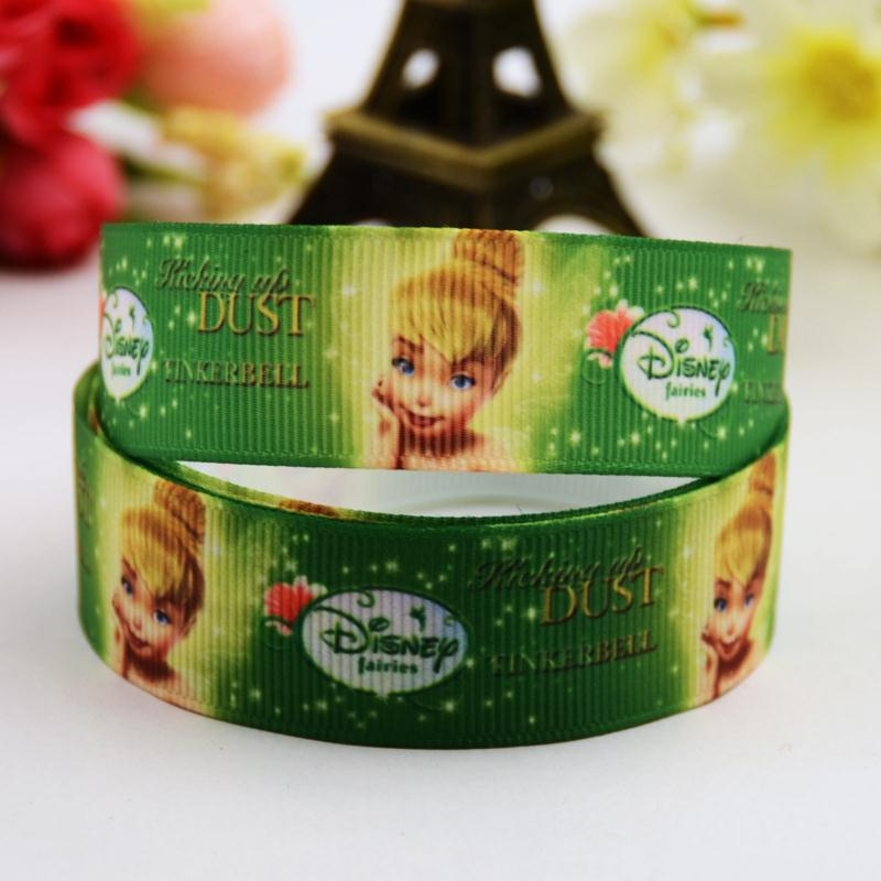 7/8 (22mm) Tinker Bell Cartoon Character printed Grosgrain Ribbon party decoration satin ribbons OEM 10 Yards X-00703