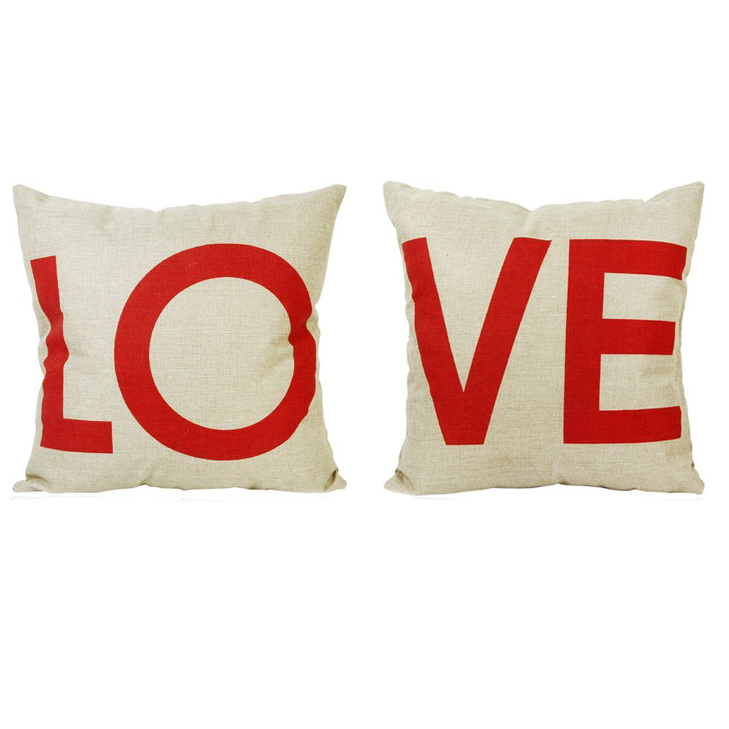 AIMA Linen Cotton Double Bed Pillow Layer Design Home Decorate Pair LO + VE Head Pillow Cover