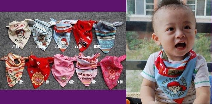 100 шт., 10 принтов, Детские хлопковые нагрудники пеленки для детей, обертывания, тканевый платок, повязка, теплый шейный платок
