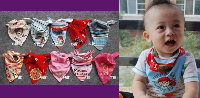 100pcs 10prints Child Infants toddler Cotton Bibs babies Wipes Wraps Burps Cloth Scarf Bandage neckerchief muffler shawl