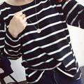Autumn Fashion Hoody Strips Casual Sweatshirts Navy Black White Striped Sweatshirt High Quality Hoodie