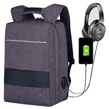 Anti Theft Backpack Ultra Thin USB Charging Port Knapsack Men Women Fits 17.3 Inch Laptop Notebook College Backpacks Lightweight