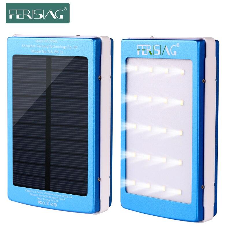 Цена за Ferising Солнечный Мощность Банка 100% реальные 15600 мАч Dual USB Батарея Портативный со светодиодной подсветкой Зарядное устройство из металла Мощность Bank Солнечное Панель PB-11