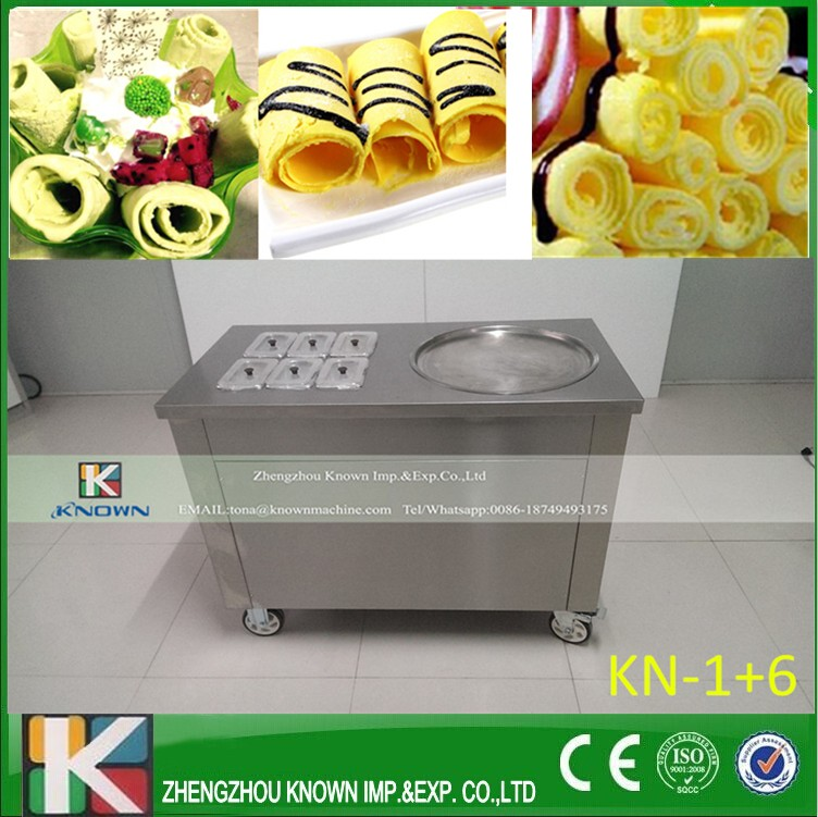 Electric Thailand Single Pan With 6 Barrels Fried Ice Cream Roll Machine Without Refrigerant