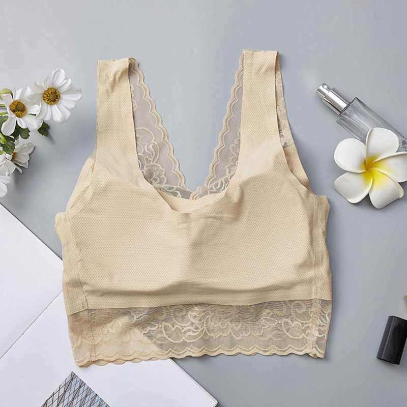 One-piece Wrapped Chest Ice Silk Cool Active Bra bralette Fashion Trendy Seamless Lace Beauty Back Breathable For Women Ladies