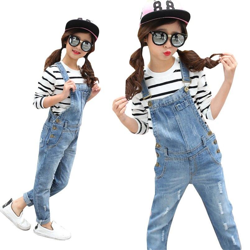 photos officielles 187ae dd11d € 22.59 12% de réduction|Salopette pour filles pantalons en Denim pour  enfants printemps vêtements enfants Jeans décontracté casual bébé salopette  2 8 ...