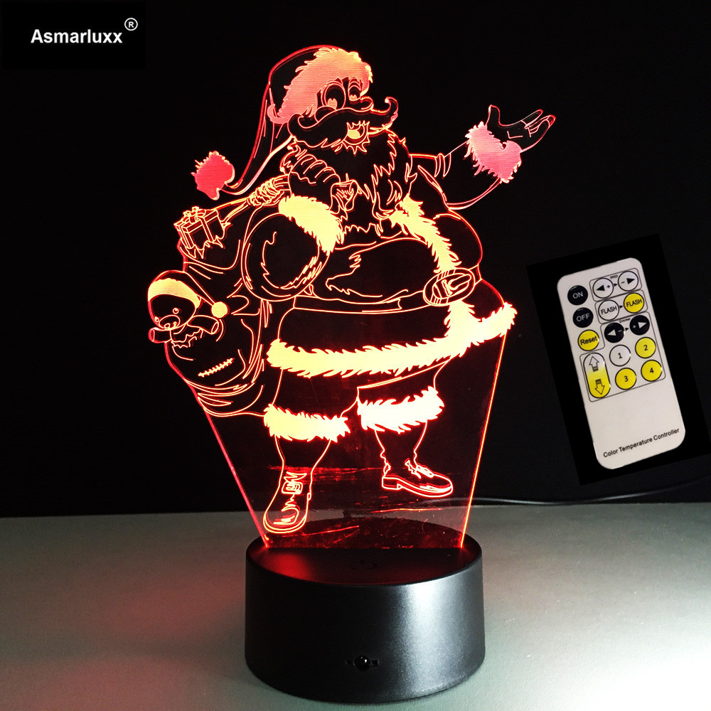 Santa Claus 7 Color Lamp 3d Visual Led Night Lights For Kids Touch Usb Table Lampara Lampe Sleeping Nightlight Christmas Gift