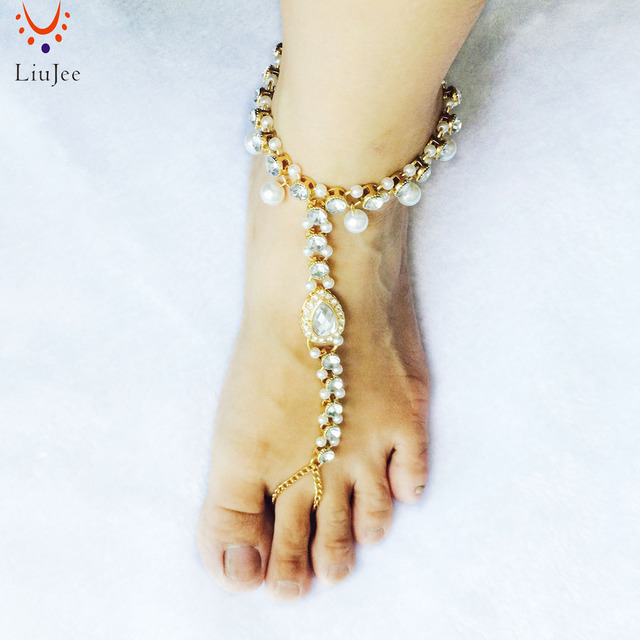 Vintage Ankle Bracelet Round Crystal With Fake Pearl Anklet Barefoot Sandals Foot Jewelry Anklets For Women