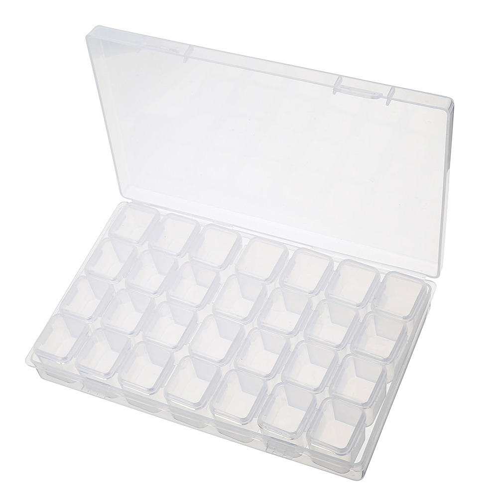 28 Slots Justerbar Klart Plast Förvaringslåda Etui Smycken Makeup Bead Organizer För Hem Rum Box