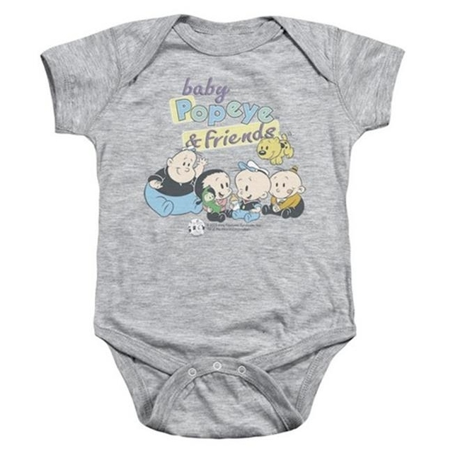 Trevco Popeye-Baby Popeye & Friends Infant Snapsuit Heather – Medium 12 Months