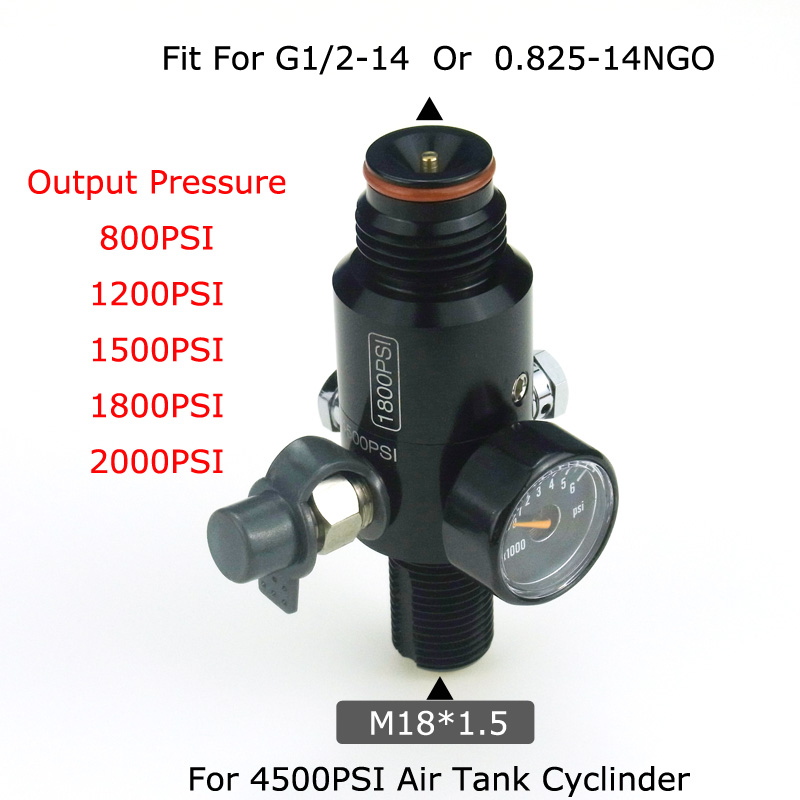 New Paintball Air Gun Airsoft PCP 4500PSI HPA Air Tank Regulator Valve Output Pressure 800/1000/1200/1800/2000PSI M18*1.5 Thread