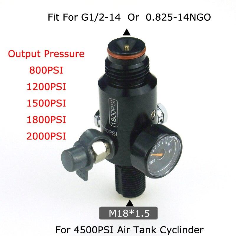 New Paintball Air Gun Airsoft PCP 4500PSI HPA Air Tank Regulator Valve Output Pressure 800/1000/1200/1800/2000PSI M18*1.5 Thread