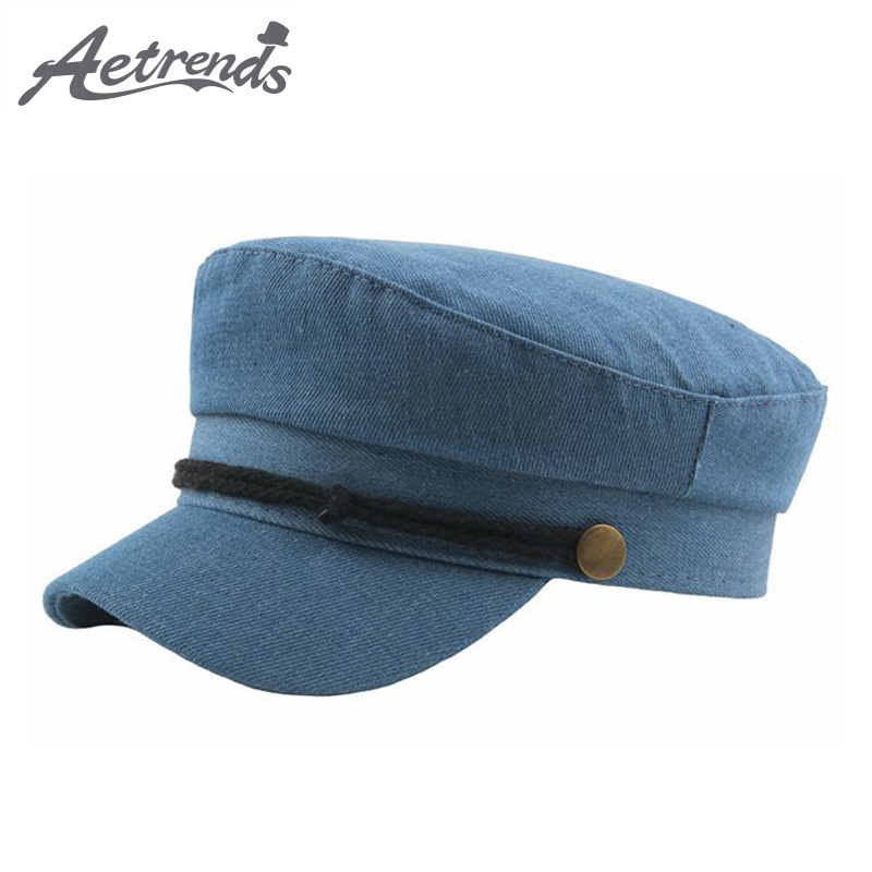 aetrends 2019 Vintage Copper Buckle Denim Newsboy Hats For Women Army Sailor Cap Newsboy Cap Men Flat Hat Gorra Mujer Z-6841 Audacious