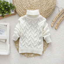 New Kind of Pure Colour High-collar Boy and Girl Pullovers Knitted Top