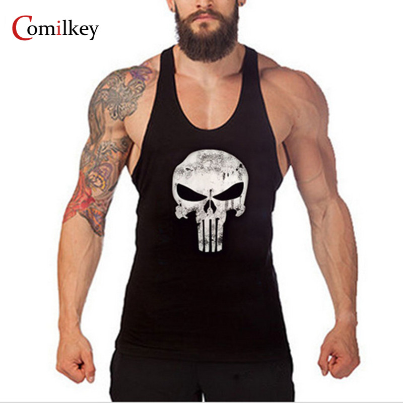 Hot Sale Kläder Fitness Men Tank Top Muscle Men Skull Wear Gymclothing Vest Stringer Sportkläder Bodybuilding Undertröja
