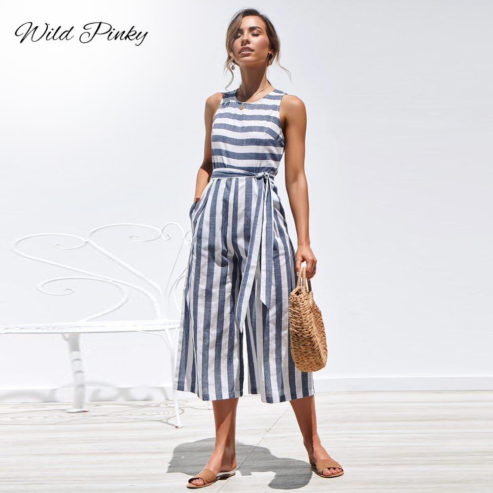 WildPinky Casual Striped Jumpsuit Women Summer 2019 Tie Up Rompers O-Neck Sleeveless Jumpsuits Cotton Wide Leg Pants Overalls