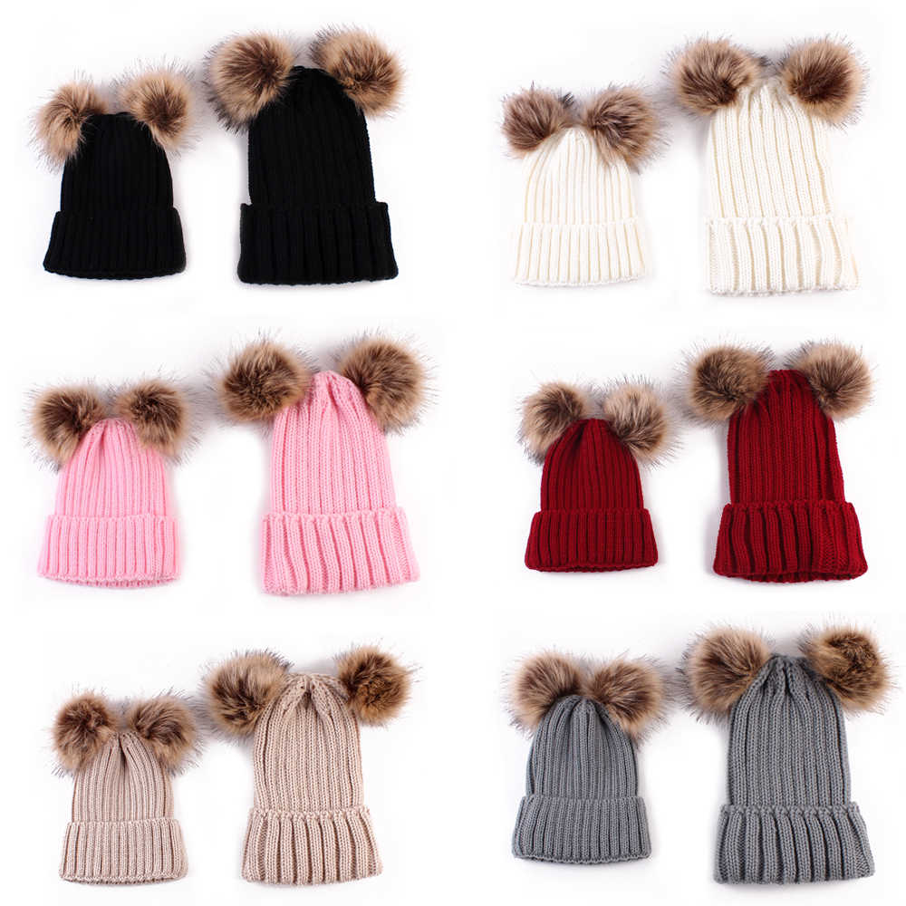 e7287fa3985 ... Puseky Mom And Baby Knitting Keep Warm Hat Family Match Hats Newborn  Bebek Double Ball Faux ...