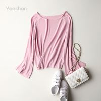 Yeeshan Flare Long Sleeve Knitting T-shirts Women Slash Neck Female T-shirt Pink Ramie Tumblr Pullover Tops Summer Top 2017