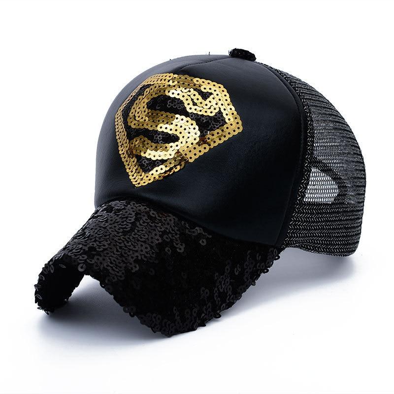 Nieuwe Stijlen Pailletten superman netto hoed Baseball Caps Zwart - Kledingaccessoires - Foto 5