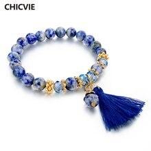 Chicvie новый роскошный синий браслет из бисера и браслеты натурального