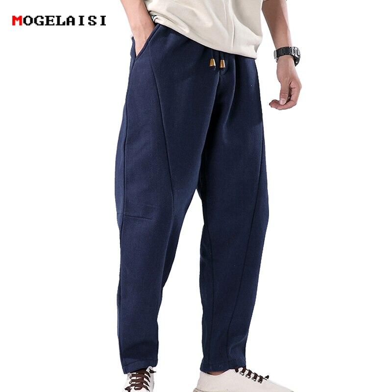 Winter Men's Pants Thick Linen Cotton Elastic Waist 76 98cm Men Trousers Slim Flax Full Length Pants Linen Fleece Size M 3XL
