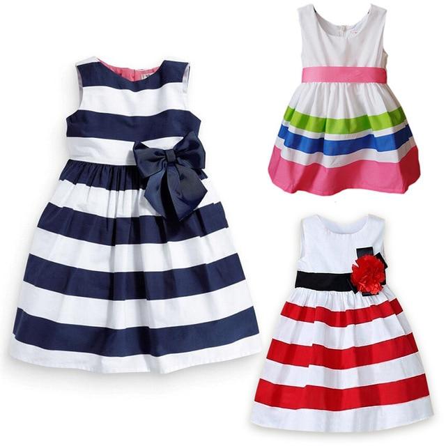 cf8c3e4850e6a7 Baby Girl Dress Red White blue green Striped Girls Princess cotton  sleeveless Dresses dropshipping  H264
