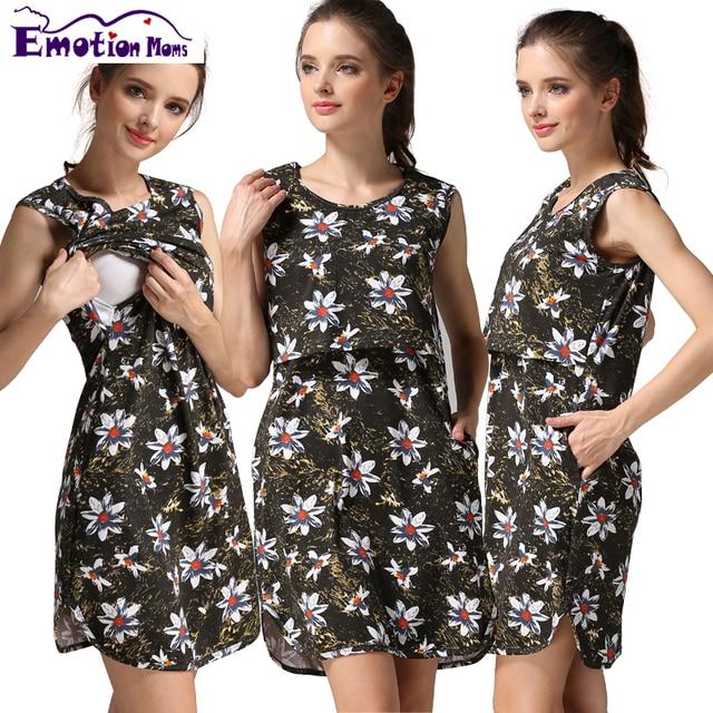 df8c144df Emoción Mamá ropa de Maternidad de Maternidad Vestido de Ropa De Enfermería lactancia  vestidos de Ropa