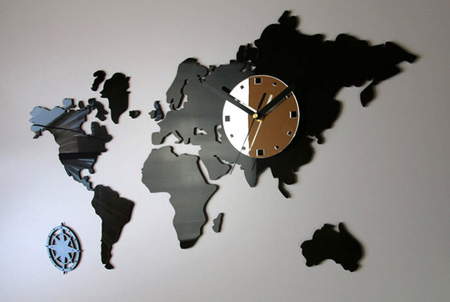 World clock wall clock home safe online map of the world clock large wall modern gumiabroncs Choice Image