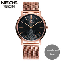 2017 NEOS New Arrival Ultra thin Steel Waterproof Couple Watches Fashion Formal Quartz Men Watch Women