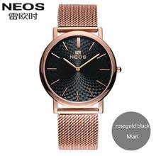 2017 NEOS New Arrival Ultra-thin Steel Waterproof Couple Watches Fashion Formal Quartz Men Watch Women Watch