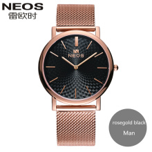 2017 NEOS New Arrival Ultra-thin Steel Waterproof Couple Watches Fashion Formal Quartz Men Watch Women Watch