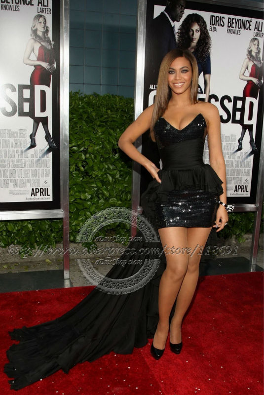 Beyonce Strapless black Sequin Short Prom dress with train Celebrity Dress-in  Celebrity-Inspired Dresses from Weddings   Events on Aliexpress.com  dfad76d531a2