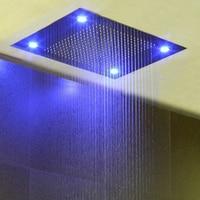 LED Ceiling Embedded Shower Head Rainfall Showers Brushed 600*800mm Showerhead 304SUS Remote Control LED Light Color Shower Big
