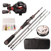 Smart Fishing Combo Set 1.98m Casting Rod 5BB Baitcasting Reel 100m Nylon Fishing Line Spoon Bait Accessories Full Fishing Kit