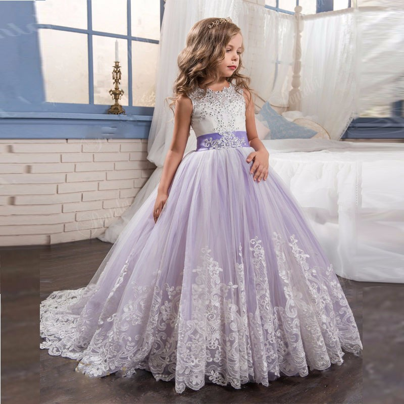 Princess Beautiful Purple and White Flower Girls Dresses Beaded Lace Appliqued Bows Pageant Gowns for Kids Wedding Party two pieces white ivory sheer long sleeves lace flower girl dresses beautiful wedding party mermaid gowns for kids custom made