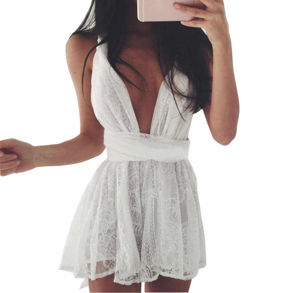 Summer Dress 2019 Sleeve Casual Sexy Women Summer Bodycon Backless Cross Party Evening Lace Short Mini Dress robe femme #N05