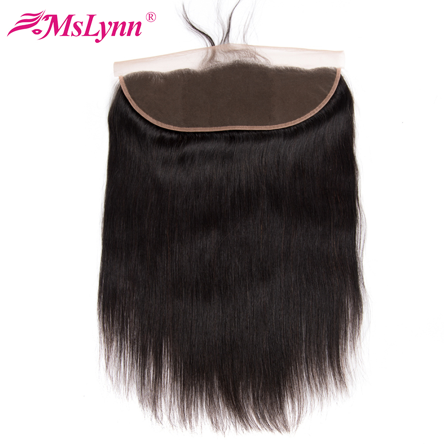Mslynn Lace Frontal Closure 13x4 Brasilian Straight Hair With Baby Hair Ear To Ear Free Part Mänsklig hårstängning Non Remy Hair