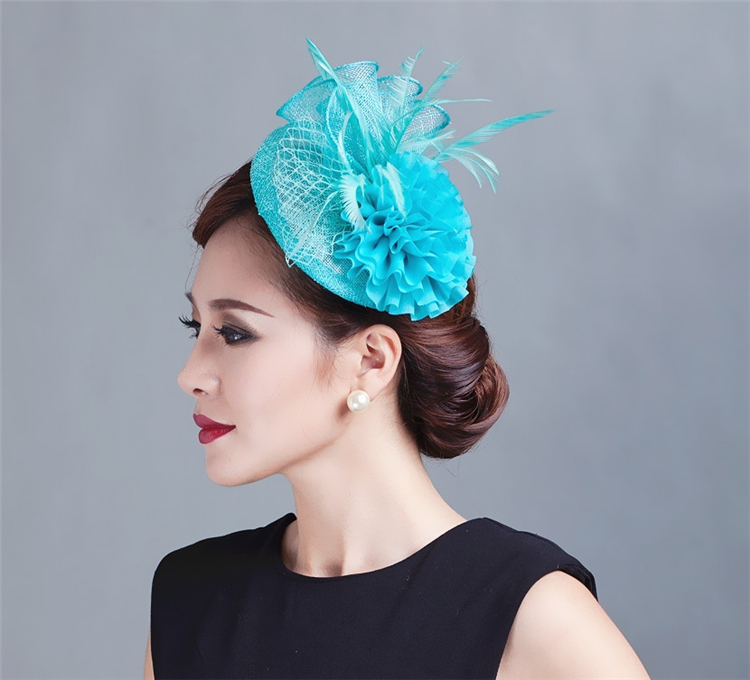 Sinamay Hat Fascinator Feather Flower Hair Clip Women Headwear Bride Wedding Hats Fascinators Bridal Hair Acessories For Party C wholesale royal women fascinators wedding races sinamay cocktail fascinator women linen feather hat wedding party hair accessory